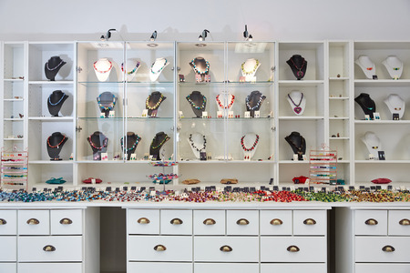 Interior design of jewelry store with product presentation displays
