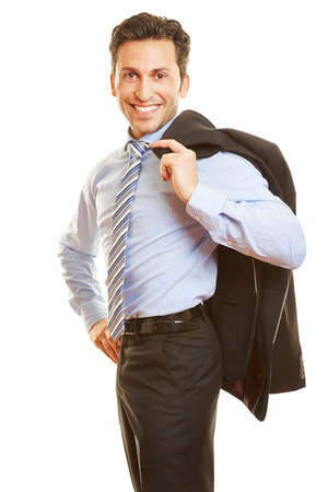 Happy businessman carrying his jacket over the shoulder Stock Photo - 30111054