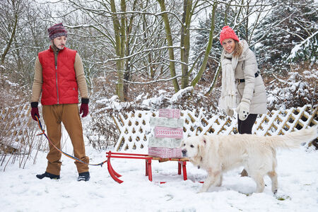 Couple with christmas gifts on sled in winter with dog photo