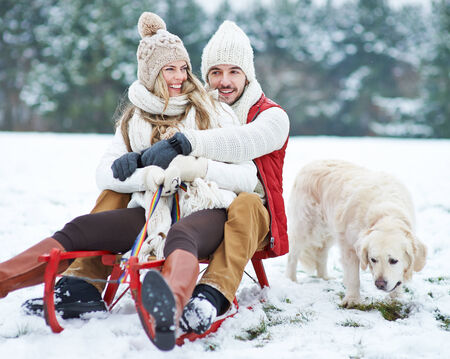 to go sledding: Happy couple sledding with toboggan and dog in winter