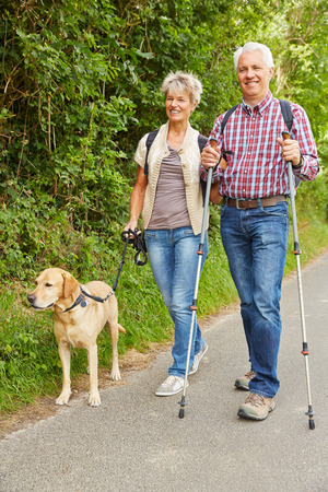 Elderly man and woman hiking and walking with dog in nature photo