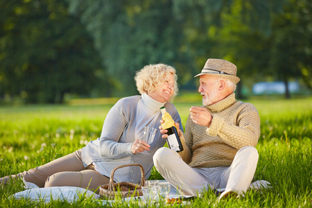 Happy senior couple drinking wine in summer at a picnic Stock Photo