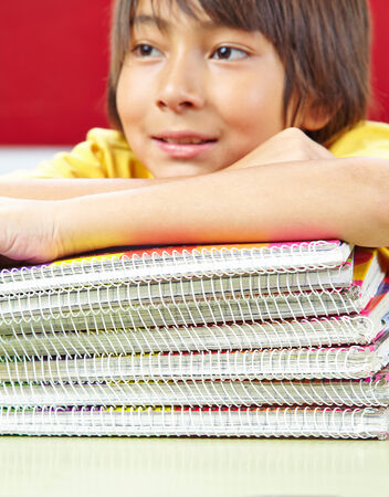 spiral binding: Japanese student with notebooks with spiral binding in school