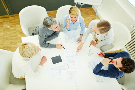 strategy meeting: Business team talking about strategy in meeting in conference room