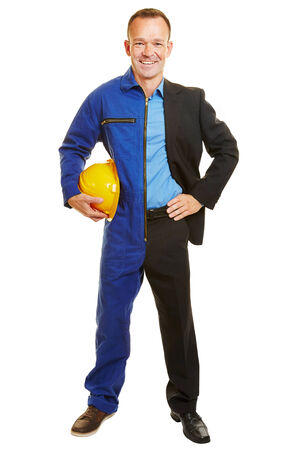 boiler suit: Isolated man half as worker and business manager in the appropriate clothing