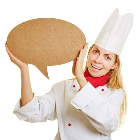hint: Smiling woman as chef cook with big empty speech bubble
