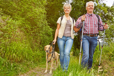 parejas caminando: Pares mayores sonrientes con el perro en una caminata en un bosque