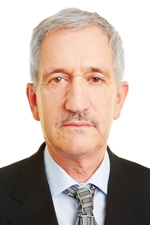 Neutral face of old business man for biometric passprt photo Banque d'images