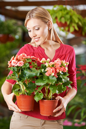 garden staff: Smiling woman holding two begonia flowers in garden center Stock Photo