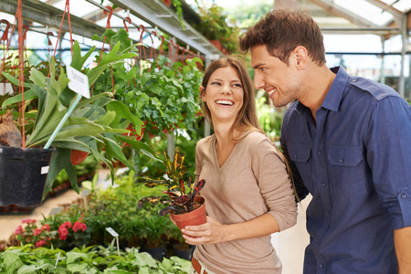 floristry: Happy couple shopping for green plants in a garden center