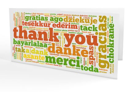 many thanks: Greeting card with many thank you notes in different languages