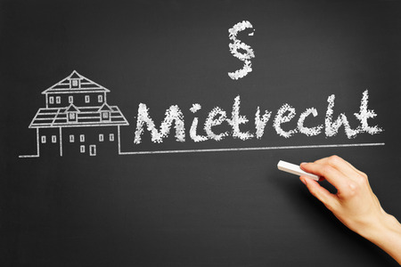 renter: Hand writes in German Mietrecht (tenancy law) on blackboard Stock Photo