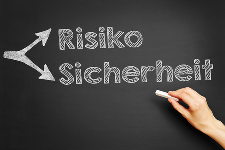 risiko: Hand writes in German Risiko Sicherheit (Risk Security) on blackboard