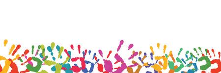 Achtergrond met veel verschillende kleurrijke handafdrukken