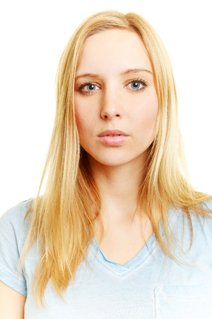 Passport photo of young blonde neutral looking woman Stock Photo
