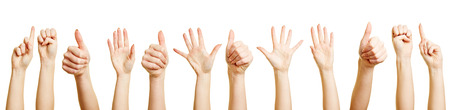 gestos: Muchas manos y los pu�os haciendo diferentes gestos con las manos