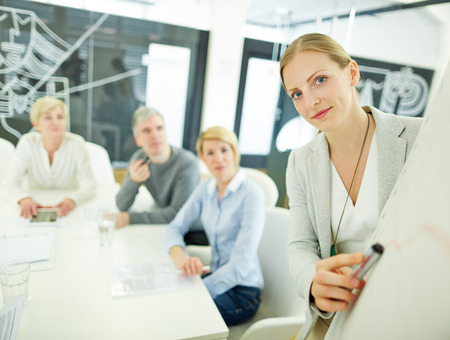 consulting room: Woman from consulting company giving presentation in a meeting