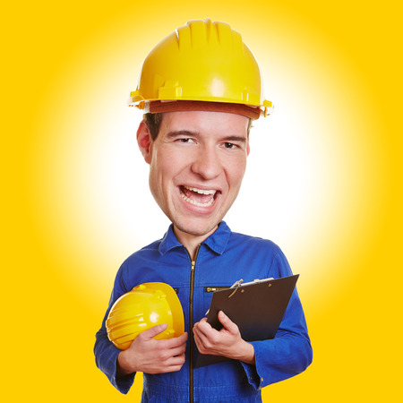 Funny construction worker with big head and safety helmet