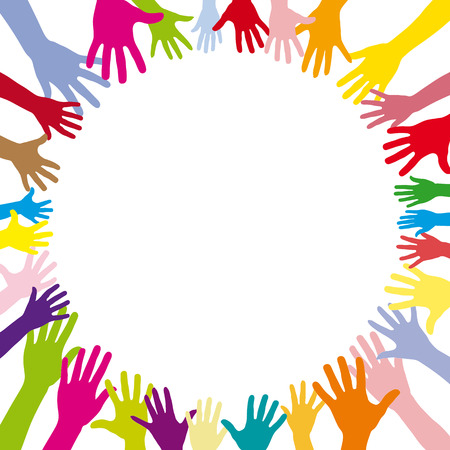 Many abstract colorful hands in a circle as a background
