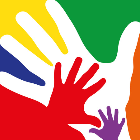 reaching hand: Family concept with many hands as colorful background