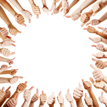 Many hands holding thumbs up as a circle background Stockfoto