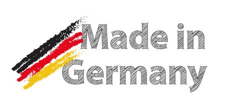 foreign trade: Made in Germany with German national colours as paint strokes