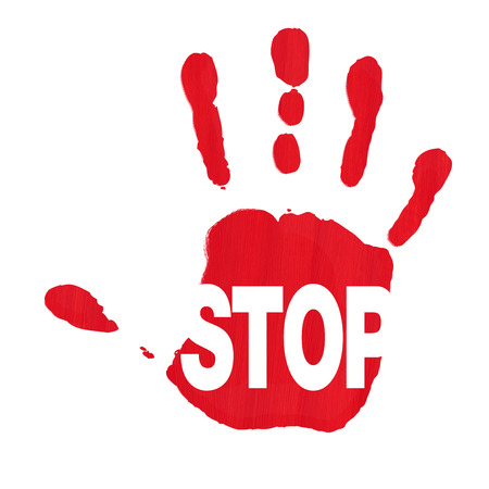 woman stop: Red hand print showing STOP sign against racism and sexism