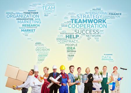 Internationale samenwerking met de groep van mensen uit vele sectoren en beroepen Stockfoto