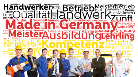 made in germany: Made in Germany tag cloud in German with business and worker team