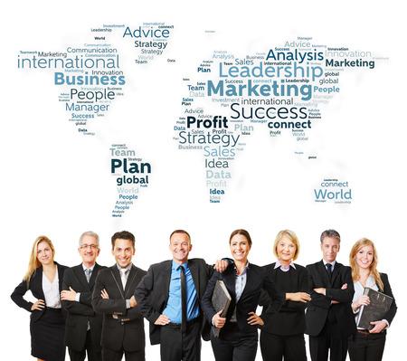 negocios internacionales: Personas internacionales del asunto con abogados y estrategia de marketing Foto de archivo