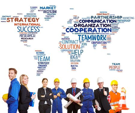 blue collar: International team cooperation with white and blue collar workers together