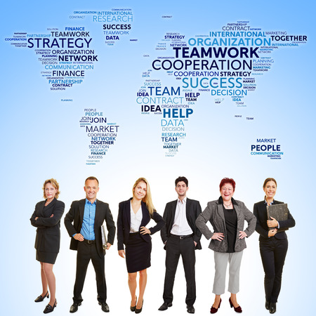 wordwide: International business teamwork cooperation with many lawyers stand in front of world map Stock Photo