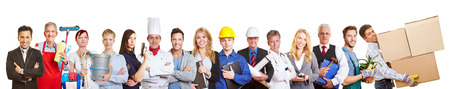 Big panorama group of people from many trades and professions and occupations