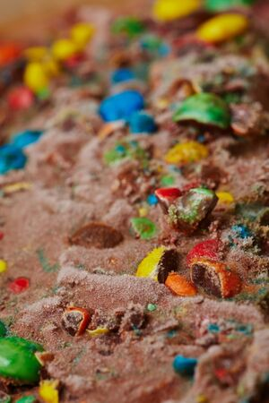 dragees: Chocolate ice cream with many chopped colored dragees