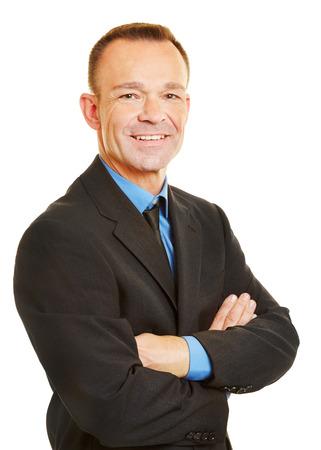 Leiter Schuss eines lächelnden attraktiven Wirtschaftsstandort Mann