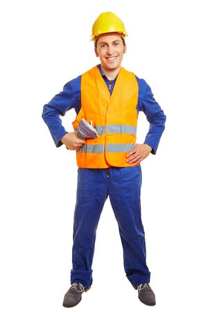 safety vest: Happy blue collar worker with hardhat and safety vest
