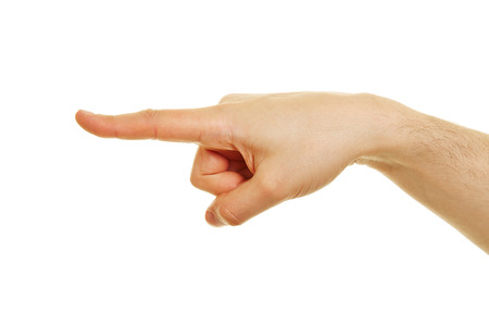 mockery: Side view of hand with pointing index finger isolated on white background Stock Photo