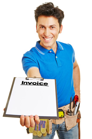 bill: Smiling builder giving invoice on clipboard to customer