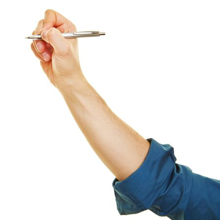 ballpoint pen: Side view of hand writing with a ballpoint pen
