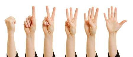 middle finger: Woman showing numbers from zero to five with her fingers