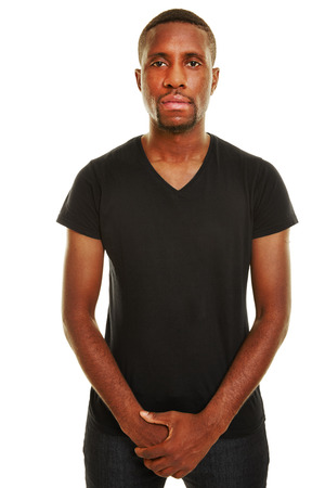 black guy: Young casual african man with neutral face in front view