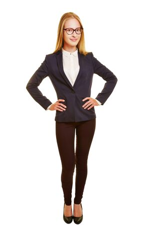 arms akimbo: Front view of young business woman with her arms akimbo