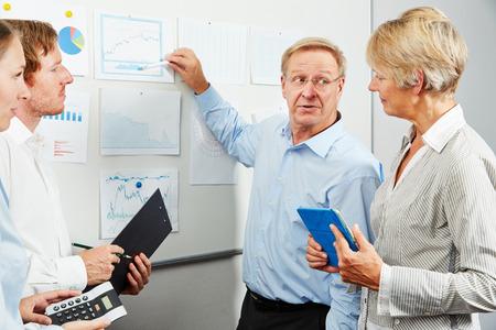 Consulente in squadra di affari che spiega diagramma di riserva su altri grafici su una lavagna