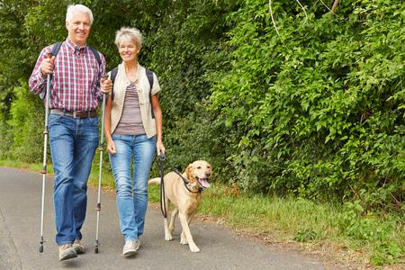 Happy senior coppia escursioni con il cane labrador retriever in estate