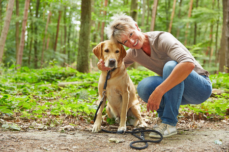 Happy elderly woman sitting with labrador retriever in a forest Archivio Fotografico
