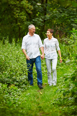 hand movements: Happy senior couple taking a walk in nature in summer