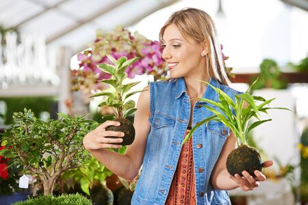 garden center: Young smiling woman with two kokedama in her hands in a garden center