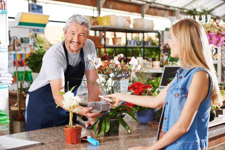 Mobile Payment im Gartencenter mit Verkäufer und Kunden Standard-Bild