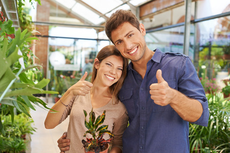 floristry: Happy couple in nursery shop holding their thumbs up Stock Photo