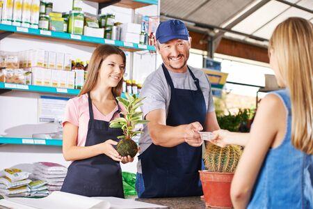 euro bill: Woman paying plant in nursery shop of a garden center